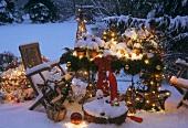 Christmas decorations on a snowy terrace