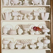 White pottery on shelves
