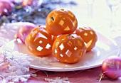 Carved orange skins used as Christmas decoration