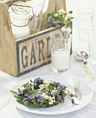 Table wreath of forget-me-nots & flowering twigs