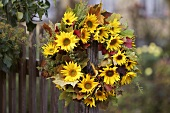 Wreath of sunflowers, foliage and millet