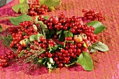 Wreath of viburnum berries and crab apples