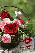 Small basket filled with roses