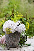 Hydrangeas, dill and St. John's wort in vase