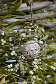 Ball of bird food in feeder in front of mistletoe