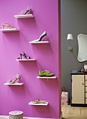 Shoes on shelves in a cloakroom