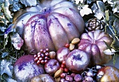 Pumpkins and fruit sprayed silver for Christmas
