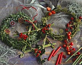 Christmas wreaths and star