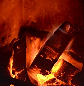 Briquettes in an oven