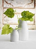 White ceramic vases with leaves