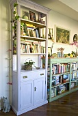 White bookshelf next to a half height shelf in country farm house style
