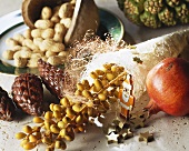 Christmas decoration with bunch of dates, sisal, pomegranate etc.