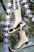 Conifer wreath and skates (Christmas decoration)