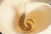 View down through a spiral staircase