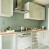 Küchenschränke mit Glasfronten und Edelstahlgeräte in der kleinen Küche