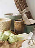 Vegetables, beaker and pots