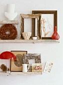 Picture frames on shelves