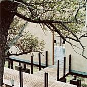 Holzsteg als Zugang zu einem Baumhaus