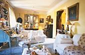 A living room with a davenport
