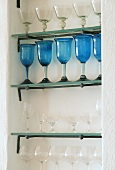 Glasses on a shelf