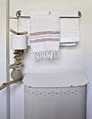 Towels on towel rack
