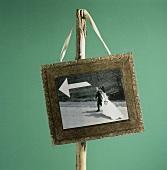 Hochzeitsphoto als Schild