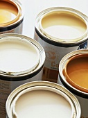 Top view of pots of paint