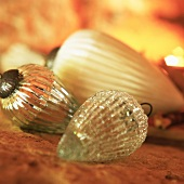 Glass pine cone decorations