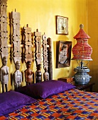 Colourful bedroom decorated in African style