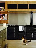 Schwarzer Vintageholzherd und minimalistische Hängeschränke aus Holz in einer stilgemixten Küche