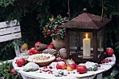 Wintry decorations on garden table