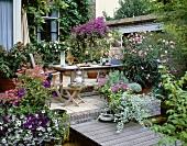 Garden terrace with summer flowers