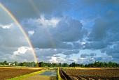 Double rainbow over arable land