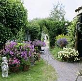 Garten im Sommer mit Blumen & Gartendeko