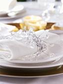 Eye-catching: place-setting with napkin & festive napkin ring