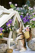 Outdoor Easter decoration: Easter Bunny with basket & flowers