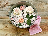 Fresh roses and rose petals in a bowl of water