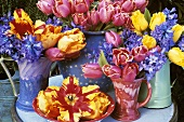 Vases of tulips and hyacinths out of doors