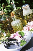 Olive oil flavoured with herbs and flowers