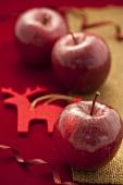 Drei rote Äpfel weihnachtlich dekoriert