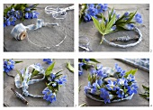 A gentiana wreath being made