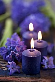 Candles and hyacinth flowers