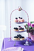A cake stand with muffins and blackberry tartlets