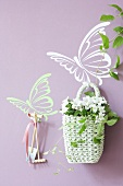 Butterfly wall stickers with with flower baskets