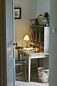 Desk with lamp and compartments