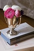 Ranunculus in a silver cup