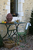 Garden table with autumn decorations & Federweisser (young wine)
