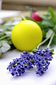Purple flowers and yellow candle
