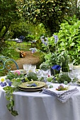 Laid table in garden