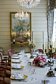Table laid for special occasion in elegant room